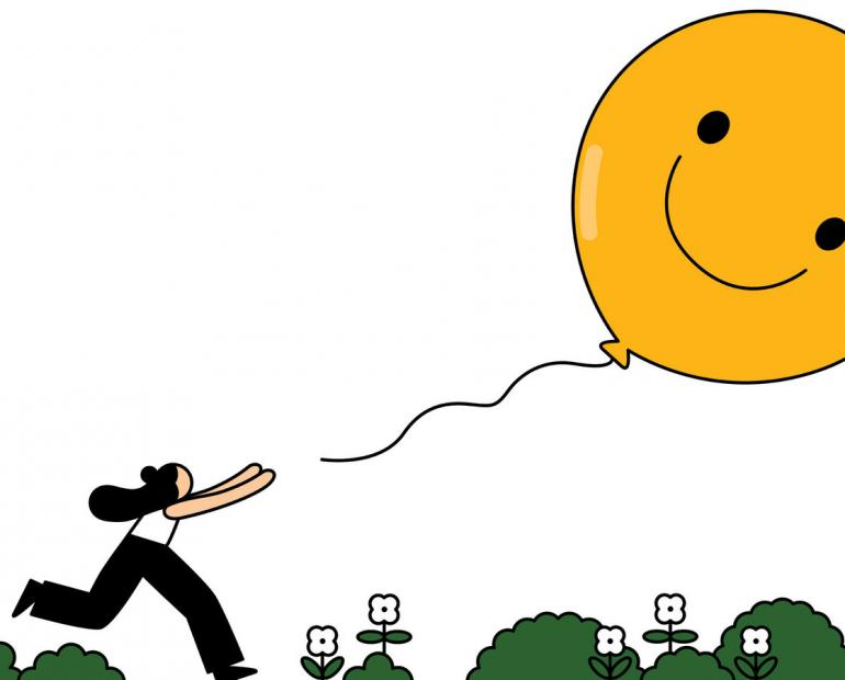 Cartoon woman chasing balloon of happiness