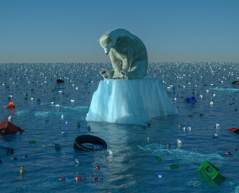 A polar bear standing on the last piece of iceberg surrounded by plastic. Demonstrates the effects of global warming.