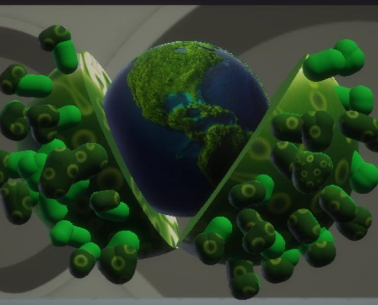 Illustration of a green world rising from the virus