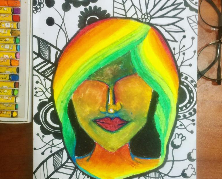 A Girl in the rainbow and flowery background