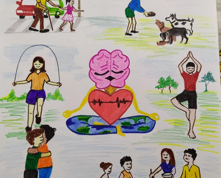 People helping out others, doing exercise and expressing gratitude, surrounding a yogi who is a brain, a heart and body as the Earth.