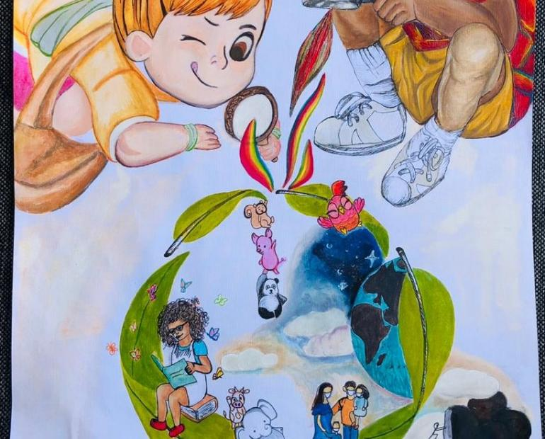 The drawing shows two children who are looking through magnifying glass. With a magical flow, the future environment is displayed through recycle icon.