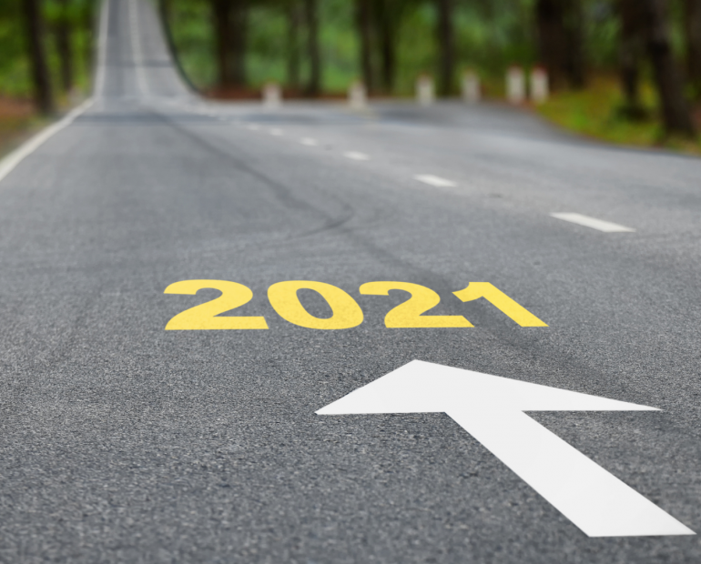 Road with 2021 written on it