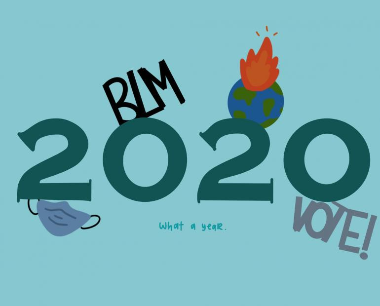 Large numbers reading 2020, with the graphics: a mask, BLM, the Earth, and Vote! surrounding it.