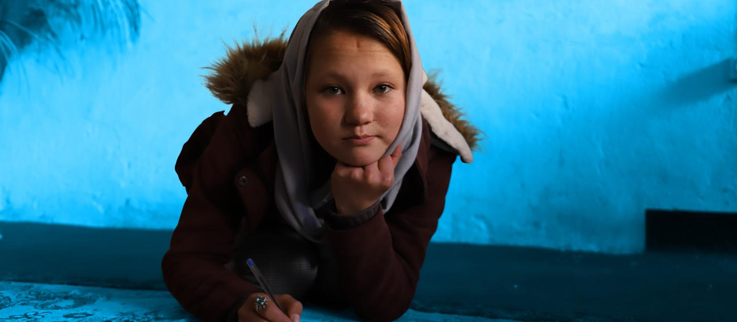14-year-old Zainab, a poet from Bamyan province, Afghanistan.