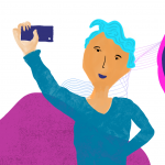 Illustration of a person taking a selfie