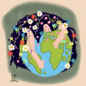 A beautiful woman filled with flowers is hugging our lovely earth.