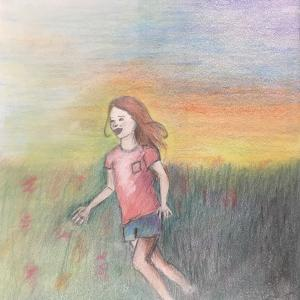 This is just a happy little girl running through a field at sunset. Looking at this drawing, you should catch a glimpse of freedom, some kind of connection to nature in a world that is transitioning as fast as that sunset... We should make more time to connect with nature because it will give us the willingness and the strength to preserve it.