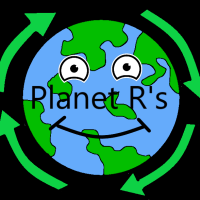 4 arrows revolving around a earth, having a similing face and written 'Planet R's'.
