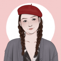 An illustration of Laken wearing two braids, a gray cardigan, and a red beret.