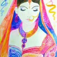 A woman cladded in colorful dress
