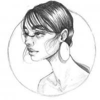 It is a pencil drawing of a girl (side view) drawen by @Pypahs art