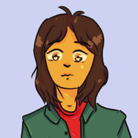 An illustrated girl with brown hair and eyes, wearing a red shirt with opened button down, green collared shirt on top.