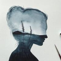A beautiful girl painting having a illusion of mountains & lake.