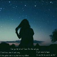 Girl under starry sky